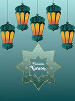 Ramadan kareem flat design with arabic lantern vector