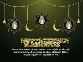 Beautiful islamic new year with realistic golden lantern and moon vector