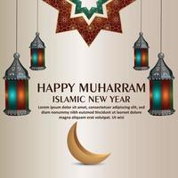 Flat design template of happy muharram islamic new yera vector