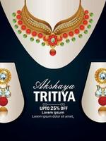 Akshaya tritiya celebration sale poster with gold necklace vector