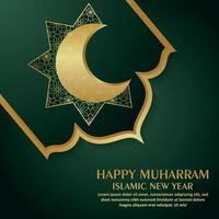 Happy muharram celebration greeting card with pattern gold moon vector