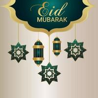 Realistic eid mubarak greeting card with vector illustration