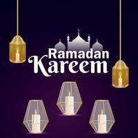 Islamic festival of ramadan kareem with arabic pattern golden moon and lantern vector