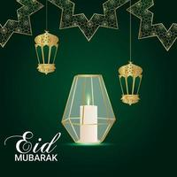 Realistic eid al fitr background with creative lantern and moon vector