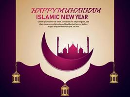 Realistic happy muharram islamic background with moon and mosque vector