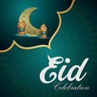 Ilustración de vector de eid mubarak con linterna árabe creativa