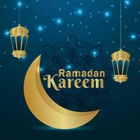 Decorative ramadan kareem islamic golden moon with star and lantern vector