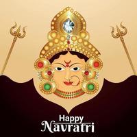 Ilustración de vector de tarjeta de felicitación de celebración de navratri feliz con ilustración de cara de diosa Durga