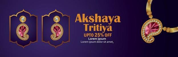 Indian festival of akshaya tritiya sale header with gold necklace vector