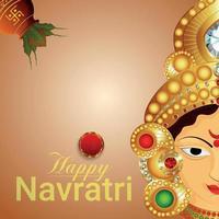 Feliz celebración del festival tradicional indio navratri tarjeta de felicitación con ilustración vectorial de la diosa Durga vector