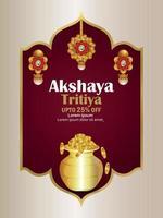 Akshaya tritiya indian jewelery sale promotion festival with gold coin pot vector