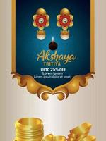 Indian festival invitation sale promotion background with gold coin pot and gold earings vector