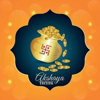 Akshaya tritiya indian jewelery sale promotion festival with gold coin pot vector