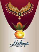 Akshaya tritiya indian  jewelery sale poster with golden kalash with golden necklace vector