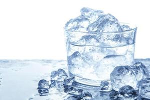 Water with ice cubes in glass photo