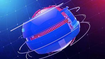 Globo de noticias giratorio para transmisión de gráficos en movimiento. video