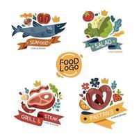 cuatro tipos de diseño de logotipo de cocina vector
