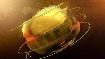 globo dorado giratorio para transmisión de noticias video