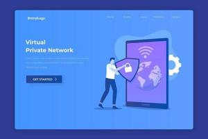VPN illustration landing page concept vector
