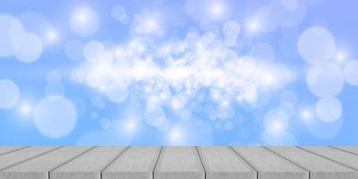 Wood table top on sky background vector