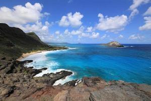 View from Makapuu Lookout in Oahu, Hawaii photo