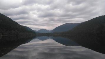 Silhouettes and reflections of mountains in water photo