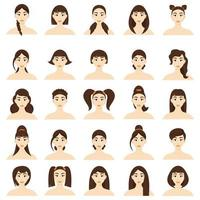 conjunto de peinados de mujeres. Hermosas jovencitas morenas con diferentes peinados aislado sobre un fondo blanco. vector