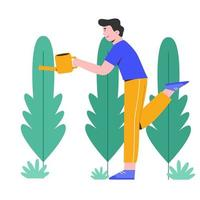 Young man watering the plants with happiness vector