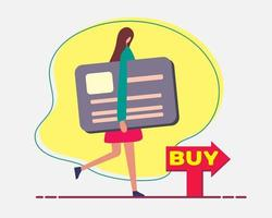 young woman shopping with credit card concept illustration in flat style vector