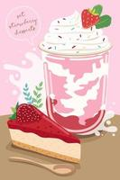Set of delicious sweets and desserts with strawberry flavor vector