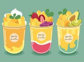 Mango Smoothie. The pulp of golden yellow mango and blueberry, strawberry, avocado and kiwi fruit vector