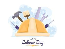 Happy Labour Day or International Workers Day at 1 may with construction worker helmet and tools. vector