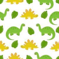 patrón sin fisuras con dinosaurios de dibujos animados lindo vector