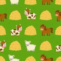 Seamless pattern with cute cartoon farm animals vector