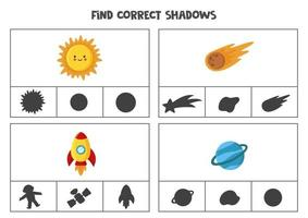 Find correct shadow of space cliparts Printable clip card games for children vector