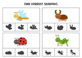 Find correct shadow Printable clip card games for children vector