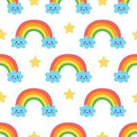 patrón sin fisuras con nubes y arco iris de dibujos animados lindo vector