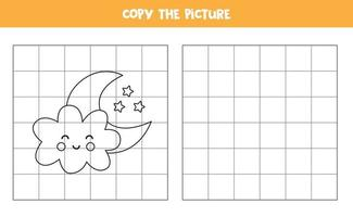 Copy the picture of cute kawaii cloud and moon Logical game for kids vector