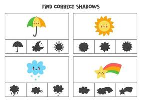 Find correct shadow of cute kawaii weather events Printable clip card games for children vector