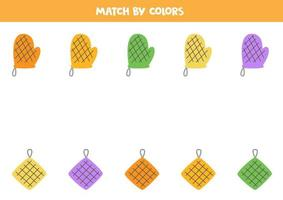 Color matching game for preschool kids Match potholders vector
