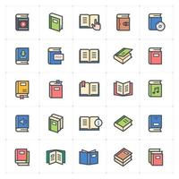 Book line with color icons Vector illustration on white background