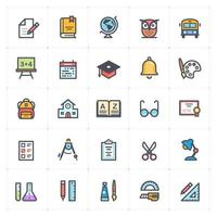 School and Education line with color icons vector