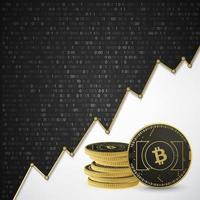 bitcoin binario fondo negro vector