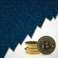 bitcoin binario fondo azul vector