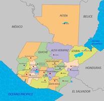 mapa de guatemala con estados vector