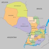 mapa de paraguay con estados vector