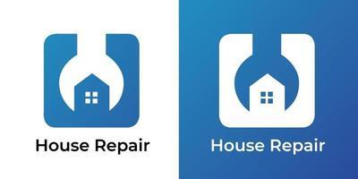 Ilustración de vector de logotipo de reparación de casa de espacio negativo