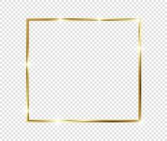 Golden luxury vintage realistic gold shiny glowing frame with shadows isolated on transparent background vector