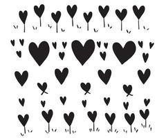 Vector marco en forma de corazón con pincel de pintura diseño dibujado a mano para San Valentín