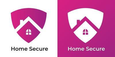 Ilustración de vector de logotipo seguro hogar de espacio negativo